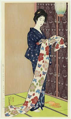 "Portraits de Bijin/で びじん  Portraits in Beauty (Beautiful Women FRENCH ""Belles Femmes"")  -Goyo<Hashiguchi  BEAUTY IN SUMMER KIMONO -FRENCH Beauté en kimono d'été (1920)  -Goyo Hashiguchi born Hashiguchi Kiyoshi December 21, 1880 – (died February 24, 1921) was an artist in Japan.The name Goyo was chosen because of his fondness for the five needle pine in his father's garden."