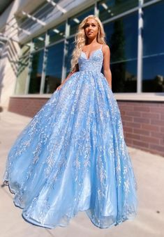 Flowy Ball Gown Light Blue Spaghetti Straps Prom Dresses, Lace Appliques Backless Prom Gowns STK, This dress could be custom made, there are no extra cost to do custom size and color. Straps Prom Dresses, Pretty Prom Dresses, Blue Evening Dresses, Prom Dresses Blue, Formal Dresses, Prom Gowns, Cinderella Prom Dresses, Blue Quinceanera Dresses, Prom Ballgown