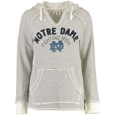 Women's Blue 84 Cream Notre Dame Fighting Irish PRG Striped French Terry V-Neck Hoodie