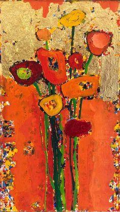 White Anemone, Blue Daisy, Small Paintings, Delphinium, Old Art, Zinnias, Red Poppies, Flower Art, Still Life