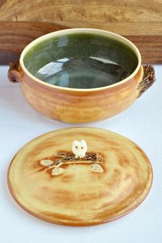 Ceramic Owl lidded 2 Qt. casserole  bakeware and serving by OneClayBead