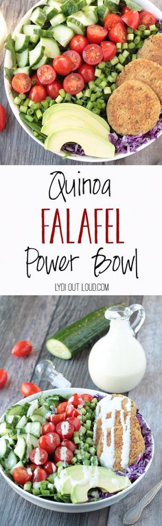 These delicious Quinoa Falafel Bowls with Tahini dressing are full of power foods making for a nutritious, filling meal!