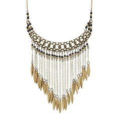 Mudd® Textured Bead & Marquise Bib Necklace
