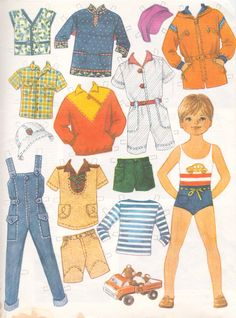 Paper dolls with clothes Doll Clothes Patterns, Doll Patterns, Paper Toys, Paper Crafts, Paper Paper, Doll Crafts, Free Paper, Paper Dolls Printable, Printable Vintage