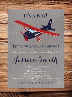 Airplane Baby shower Invitation Airplane Boy by StellarDesignsPro