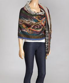 Another great find on #zulily! Blue & Green Floral Embroidered Wool Shawl by Aziza, $59 !!  #zulilyfinds