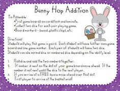 Kindergarten At Heart: free Bunny Hop Addition Game Math Classroom, Kindergarten Math, Classroom Resources, Classroom Ideas, Addition Games, Addition And Subtraction, Math Stations, Math Centers, Spring Activities