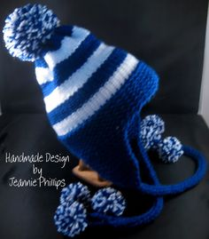 Cute hat to knit or crochet :) love the big Pom Pom