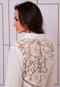 Camisa voil manga comprida com bordado richelieu costas - Blusas - Outlet