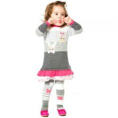 2016 Winter Jamais Sans Mon Doudou Knit Dress and Leggings Set by #DeuxparDeux -  Sweet knit dress with fun animal faces and cute lace trim on the skirt. Designed in Quebec #kidsfashion