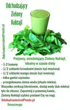OdchudzanieJestProste.pl - Niezwykłe sposoby na odchudzanie Easy Healthy Smoothie Recipes, Healthy Cocktails, Smoothie Diet, Fruit Smoothies, Loose Weight Food, Helathy Food, Homemade Protein Shakes, Diet Planner, Water Recipes