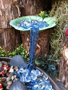 Fairy garden waterfall with beads