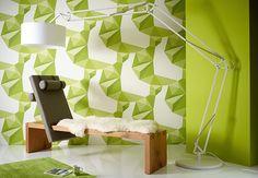 Lars Contzen Tapete Origami Reinweiß, Farngrün, Apfelgrün, Pastellgrün |  Wall Art.