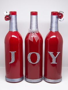 JOY Decorative Wine Bottles by BasBounty on Etsy