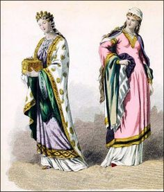 Middle Ages costumes. Medieval clothing. Carolingian period fashion. Valentine.
