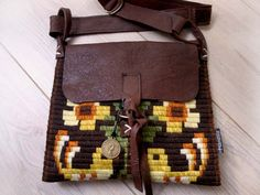 Unique handmade vintage crossover leather/handwoven by Franellie.