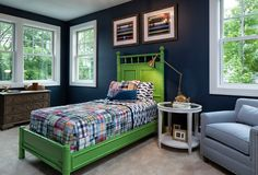 The boy's bedroom paint color is Newburyport Blue HC-155 Benjamin Moore. Lovely!Classic Coastal Cottage-style Home #shadesofroombyroompaintcolours
