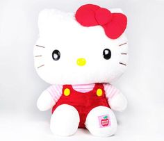 """Hello Kitty 37"""" Giant Plush: Red Overalls  YOU HAVE GOT TO BE KIDDING ME THATS ALOT OF STUFFED ANIMAL!"""