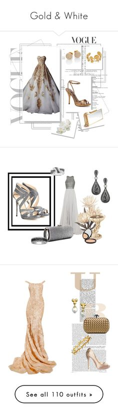 """Gold & White"" by miriam83 ❤ liked on Polyvore featuring Universal Lighting and Decor, Deborah, Glo Minerals, Ethan Allen, Pier 1 Imports, Nearly Natural, Primitives By Kathy, Torre & Tagus, Swarovski and Lalique"