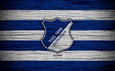 Download wallpapers Hoffenheim, 4k, Bundesliga, logo, Germany, wooden texture, FC Hoffenheim, soccer, football, Hoffenheim FC