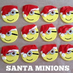 Minions with Santa Hats! Edible Cupcake Toppers! www.facebook.com/EASYCAKEFUN
