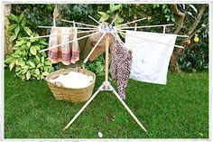 "Wooden clothes dryer, only 38"" tall by 52"" round. Easy to set up and take down. $68 from Olmay Home."