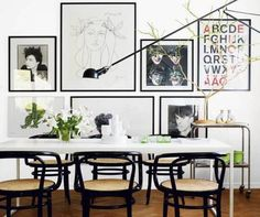Dining Room , Home Decorating Dining Room In Scandinavian Style : Home Decorating Dining Room Scandinavian Style With Wall Art And Swing Arm Sconce And White Dining Table And Black Chairs