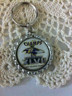 Key Chain Inspired by Baltimore Ravens Flattened Bottle Cap Silver Tone #Handmade