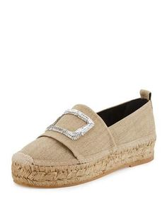 ROGER VIVIER CANVAS CRYSTAL-BUCKLE ESPADRILLE FLAT, BEIGE. #rogervivier #shoes #flats
