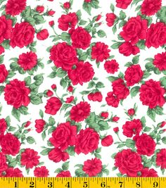 Gertie Collection Fabrics- Swiss Dot Roses White Cotton Fabric