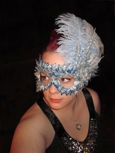 Winter Blue and Silver Mask. W & M wedding-photo booth
