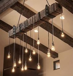 Reclaimed Wood Beam Chandelier with Iron brackets . Reclaimed Wood Beam Chandelier with Iron brackets – Unique Wood & Iron Reclaimed Barn Wood, Rustic Wood, Rustic Barn, Rustic Farmhouse, Farmhouse Table, Distressed Wood, Rustic Modern, Do It Yourself Lampe, Diy Luminaire