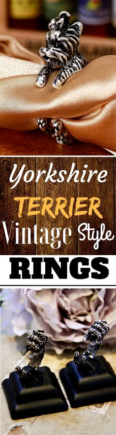 YORKSHIRE TERRIER VINTAGE STYLE RINGS. This adjustable ring symbolizes your love for your dogs. As you put the ring on your finger imagine a nice warm hug from your dog. One size fits most.