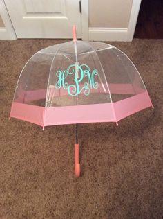 Umbrella,personalized umbrella,monogrammed umbrella,clear dome umbrella with colored stripe,chevron umbrella,vinyl monogram umbrella by IAmCreationsbyIvy on Etsy https://www.etsy.com/listing/261490063/umbrellapersonalized-umbrellamonogrammed