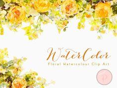 wc24 romantic Watercolor Flower, Floral Clip art, Watercolor