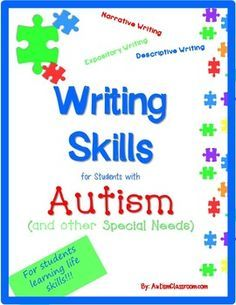 Teach writing skills without worrying too much about handwriting. This may work great for students in grade 1, 2, 3, 4, or 5 whose special needs include developmental delays or it may work for younger students in primary grades learning to develop expressive writing skills. Teach writing. Autism Support. #writing #autism