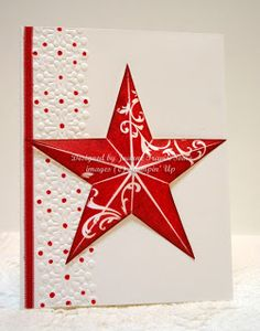 Card by Joanne Travis  (091313)   [Stampin' Up! Christmas Star stamp, Delicate Designs Textured Impressions embossing folder]