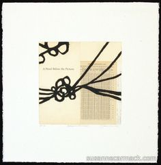 "Bibliophile Series (Knot) Susanne Carmack [2012]  Collagraph and chine colle  12"" square image, 22"" square papercollagraph print , vintage book pages, black and white"