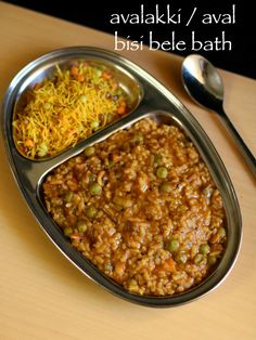 avalakki bisi bele bath recipe, aval bisi bele bath, avalakki recipes with step by step photo/video. traditional karnataka recipe with poha and lentil. Garlic Recipes, Onion Recipes, Veggie Recipes, Indian Food Recipes, Vegetarian Recipes, Rice Recipes, Kerala Recipes, Snack Recipes, Recipies