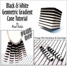 Ronit Golan - Polymer Clay Joy - Inspire to Create: Black  White geometric gradient cane FREE tutorial