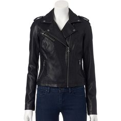 Women's Levi's Classic Faux-Leather Motorcycle Jacket ($72) ❤ liked on Polyvore featuring outerwear, jackets, black, faux leather biker jacket, moto jacket, cropped motorcycle jacket, biker jackets and fleece-lined jackets