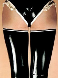 panties in black + white latex
