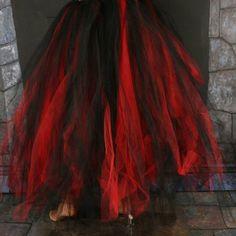 8443ae03c6 Streamer floor length tutu skirt formal red black adult gothic vampire