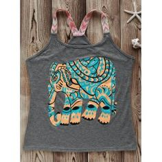 SHARE & Get it FREE | Fashionable Round Collar Elephant Print Spliced…
