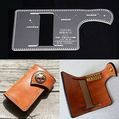 Acrylic key chain case holder Template Leather craft Pattern model stencil Us Coin Purse Pattern, Leather Wallet Pattern, Leather Tooling Patterns, Leather Diy Crafts, Leather Craft Tools, Leather Projects, Handbag Patterns, Bag Patterns To Sew, Mini Car
