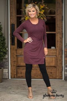 Dress - eggplant - glamour farms boutique fashion over work fashion, au Fashion For Women Over 40, 50 Fashion, Women's Fashion Dresses, Plus Size Fashion, Autumn Fashion, Womens Fashion, Work Fashion, Fashion Online, Fashion Design
