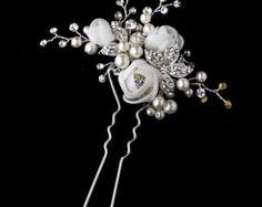 Perla flores boda peine vintage rosas de Novia de por retrobridal