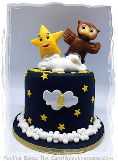 PAULINE BAKES THE CAKE!: Twinkle, Twinkle Little Star And Owl Cake!