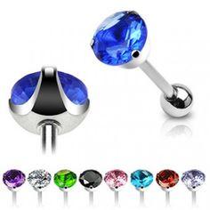 Piercing Langue Acier Big Cristal ~6 couleurs~