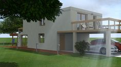 Premier essai ArchiCAD et Artlantis - Maison contemporaine à toit plat Mansions, Architecture, House Styles, Home Decor, Flat Roof, Beginning Sounds, Contemporary, Diy Ideas For Home, Projects